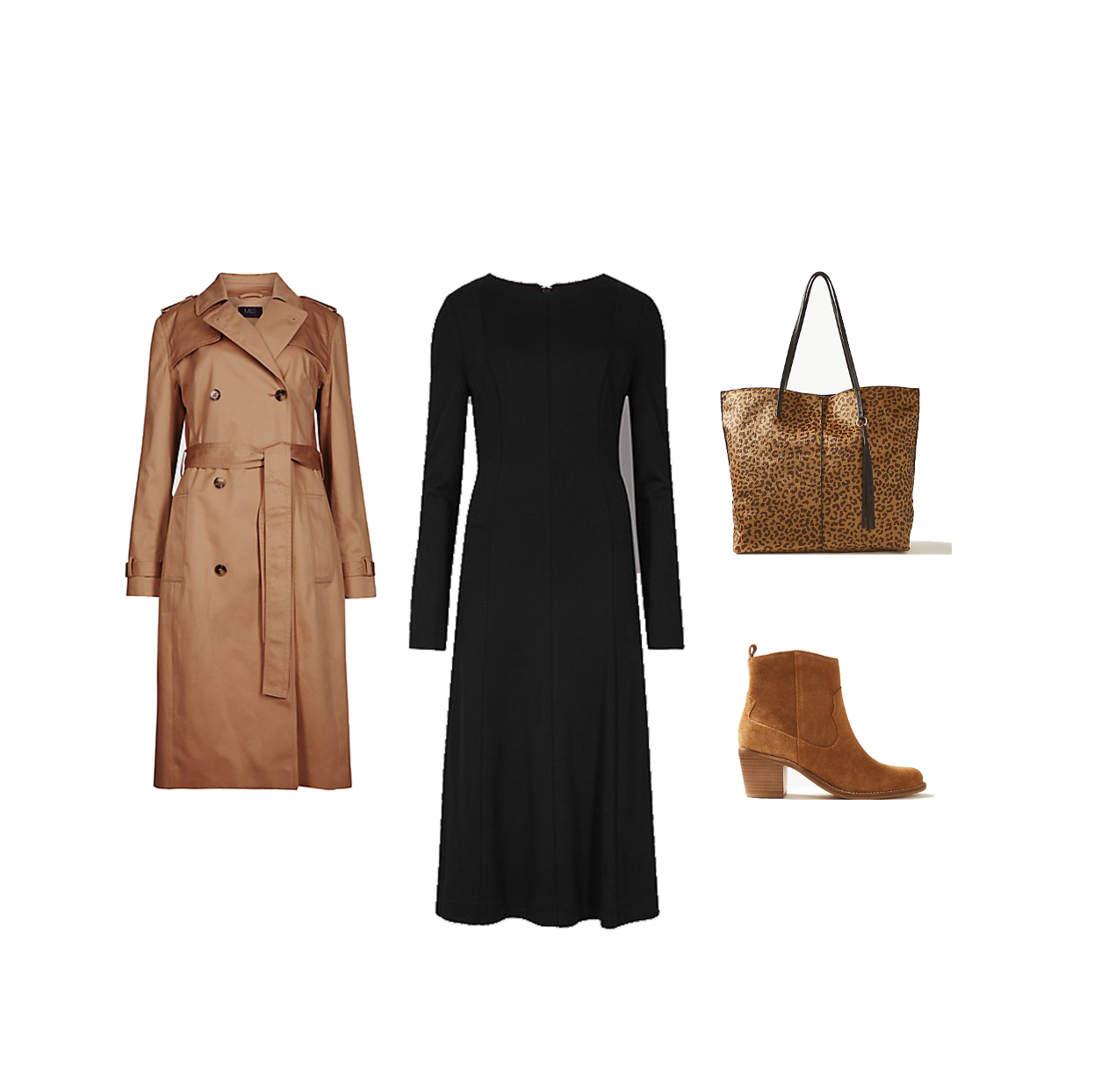 my midlife fashion, marks and spencer suede western heel ankle boots, marks and spencer pure cotton longline trench, marks and spencer animal print shopper bag, marks and spencer jersey skater long sleeve midi dress