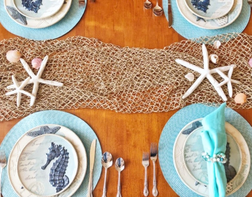 Tabletop Decor Idea with Fishnet Runner