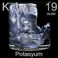 Potasyum elementi üzerinde potasyumun simgesi, atom numarası ve atom ağırlığı.