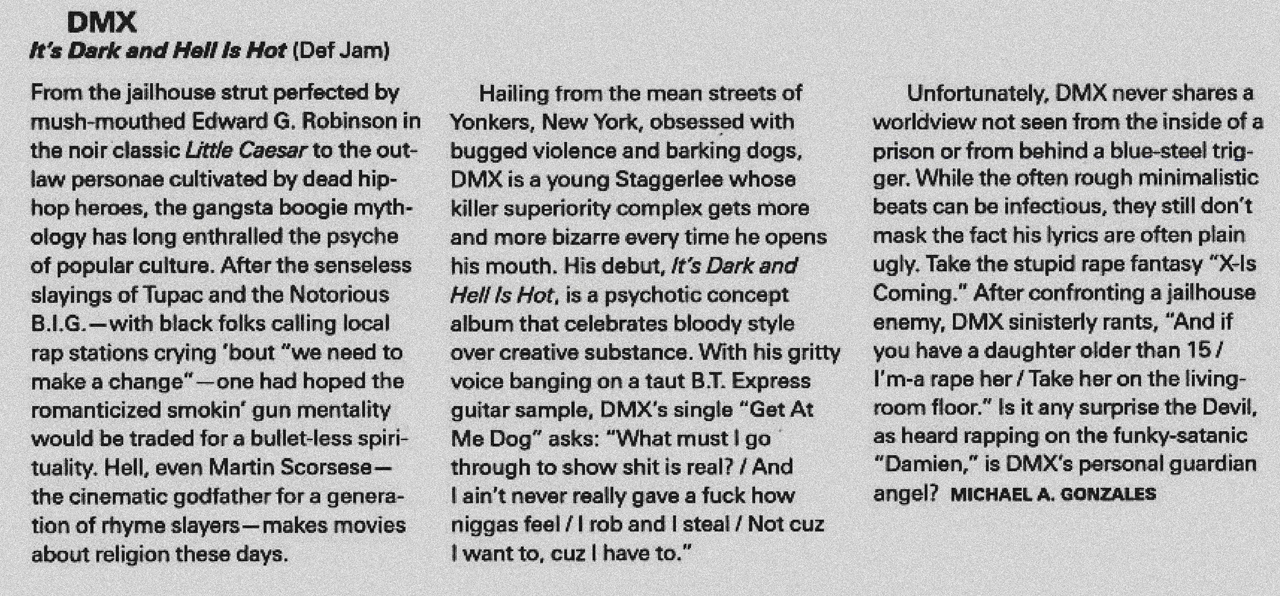 DMX It's Dark and Hell Is Hot Album Review Spin Magazine 1998