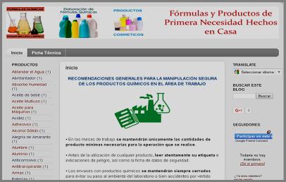 """""""Fórmulas químicas, productos de higiene y limpieza"""""""