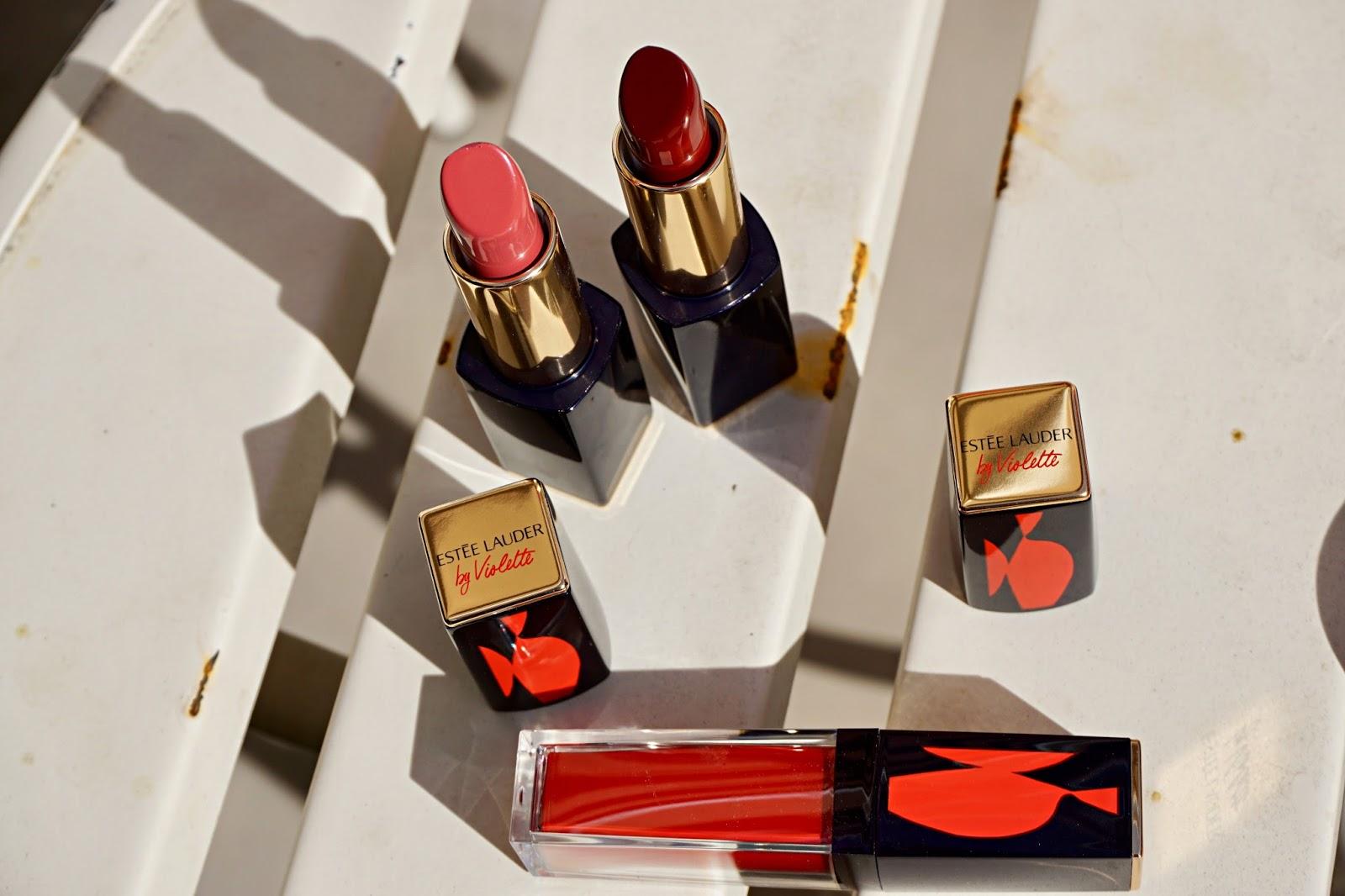 estee lauder by violette lipstick swatches