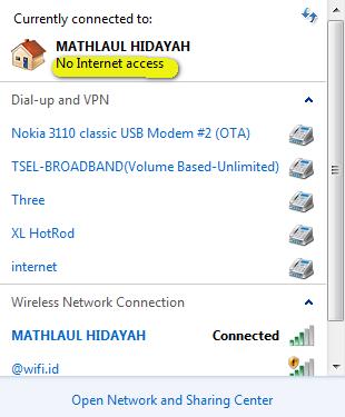 cara mengatasi no internet access pada modem speedy