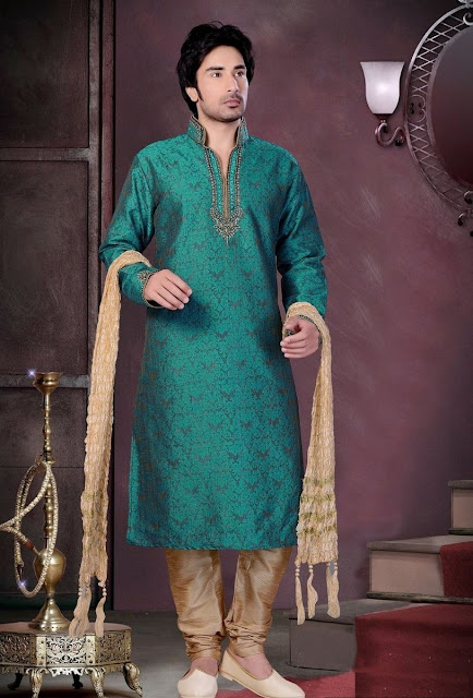 Green & Beige Art Silk Eid wear Kurta Pajama