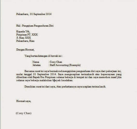 Contoh Surat Resign Simple