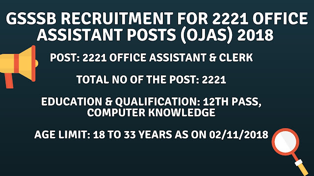 GSSSB RECRUITMENT FOR 2221 OFFICE ASSISTANT POSTS (OJAS) 2018
