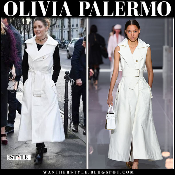 Olivia Palermo in white belted sleeveless coat ralph russo paris fashion week front row fashion january 22