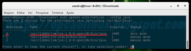 Definindo o OpenJDK como o Java padrão