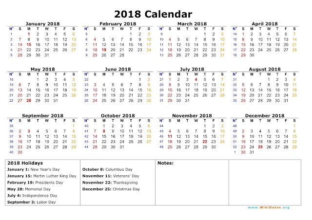 Federal Holiday Calendar 2018, Federal 2018 Holiday Calendar, 2018 Federal Holidays
