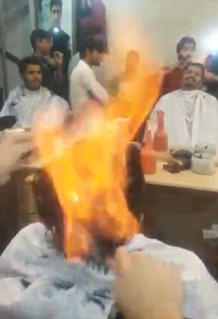 This Indian barber cuts mens hair by setting it on fire (photos ...