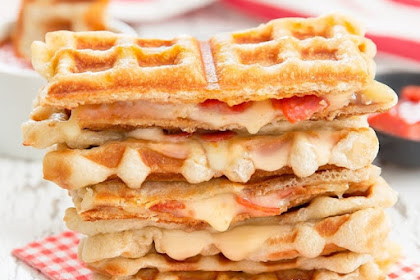 Waffled Pepperoni Pizza Grilled Cheese