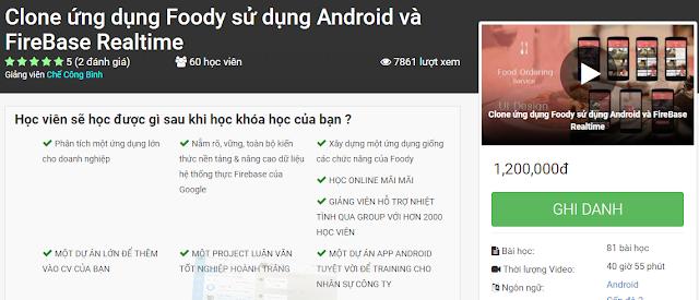 Chia sẻ khóa học Clone ứng dụng Foody sử dụng Android và FireBase Realtime - AnonyHome