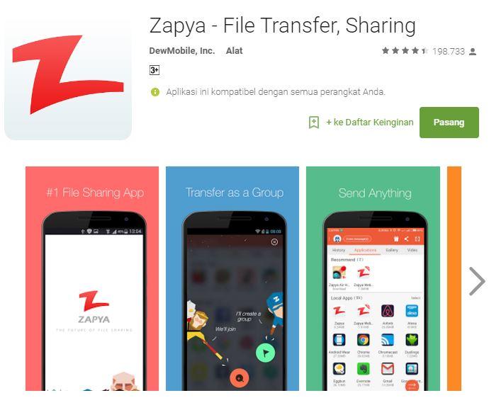 6 aplikasi Android terbaik transfer file dengan sekejap - Zapya