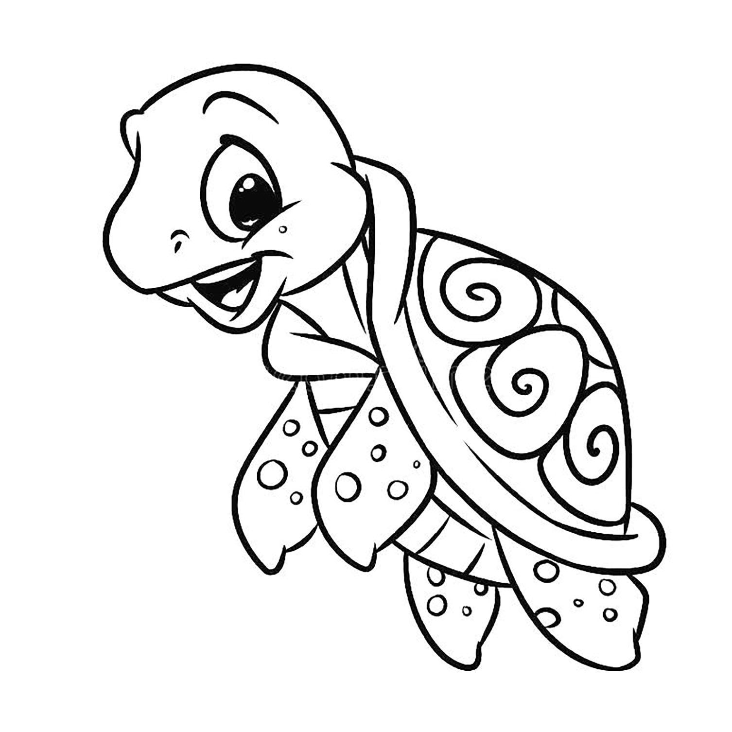 Tranh cho bé tô màu con rùa 4