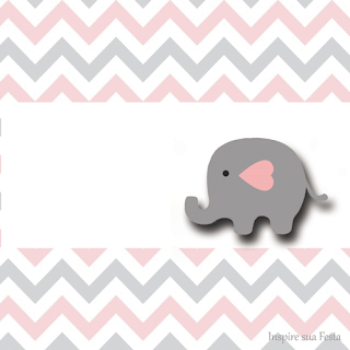 Baby Elephant in Grey and Pink Chevron Free Printable Labels.