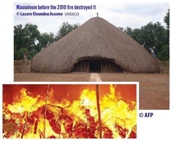 The Kasubi mausoleum building (Muzibu Azaala Mpanga) before and during a destructive fire