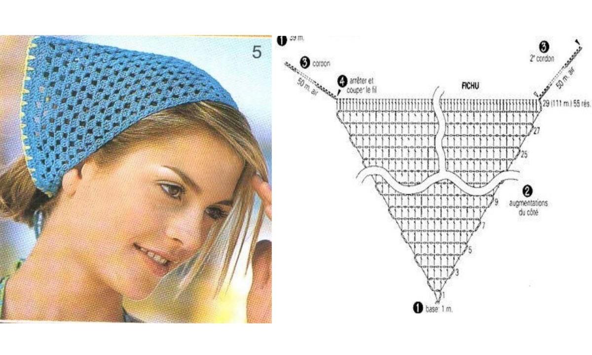 5 Pañuelos de Cabeza de Pico Crochet
