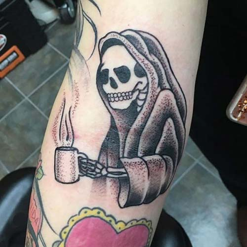 grim reaper tattoos with coffee azrail dövmeleri