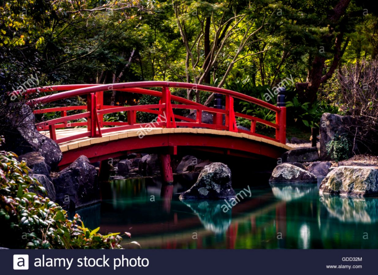 Red Japanese bridge above water Stock Photo 111540540 Alamy