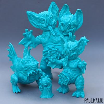 Teal Typhoon Soft Vinyl Figure Set by Paul Kaiju - Dualbat, Mockbat, Hellmock & Biterfish