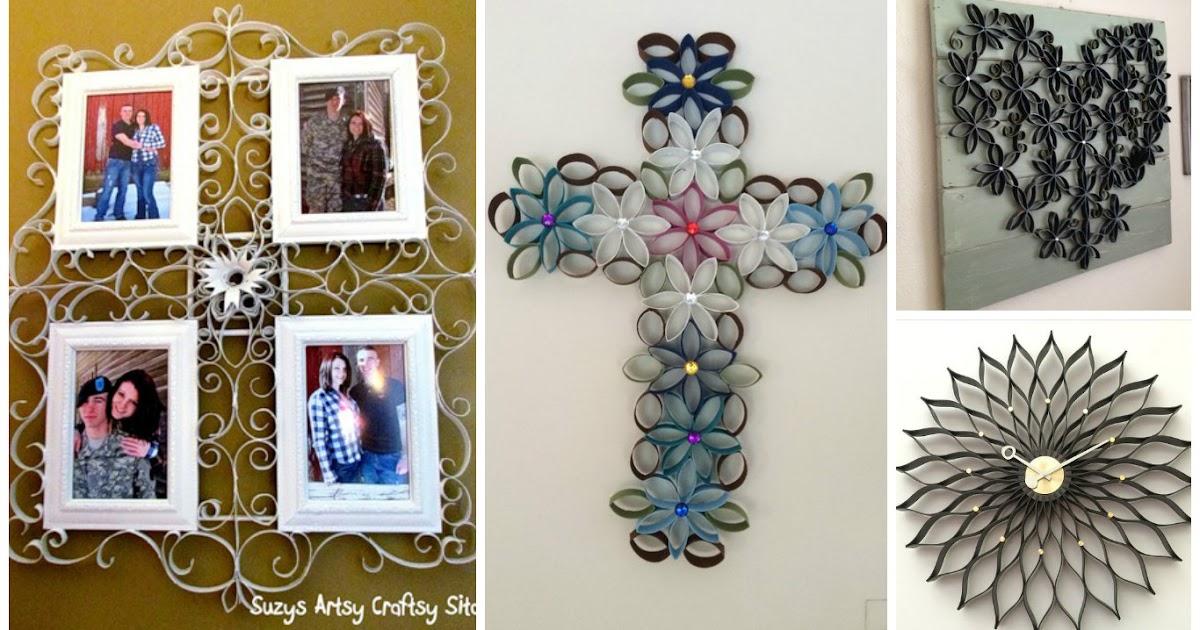 4 adornos para la pared reciclando rollos de papel - Rollos de papel higienico decorados ...