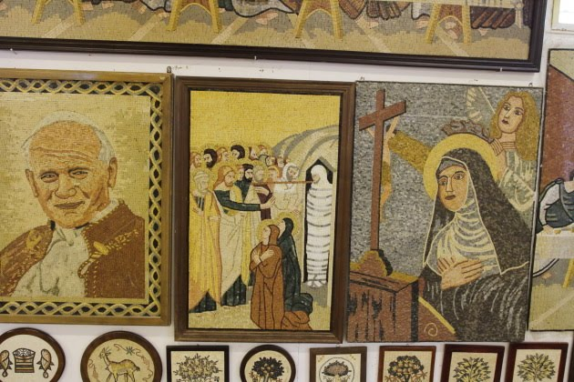 Wall of Mosaics in a shop at Madaba, Jordan