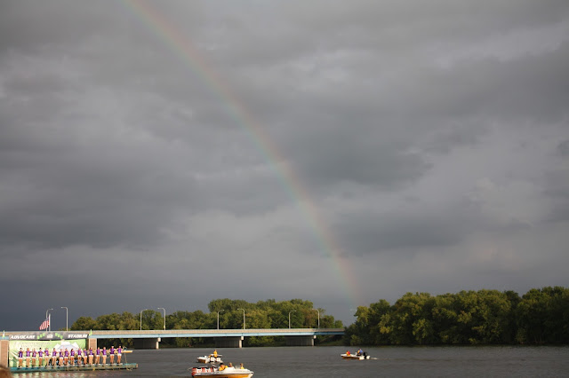 A rainbow over the Backwater Gamblers show