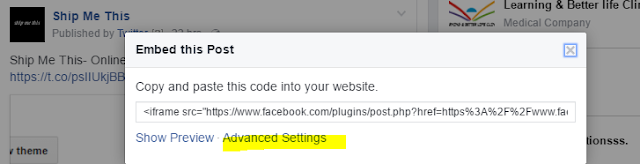 Get URL from facebook for embedded posts advaced settings