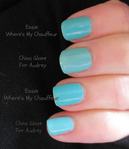 ac5510903d7 I just swatched them on my nails and they aren t dupes. For Audrey is  lighter and a tad more green. Where s My Chauffeur is more bold and blue.