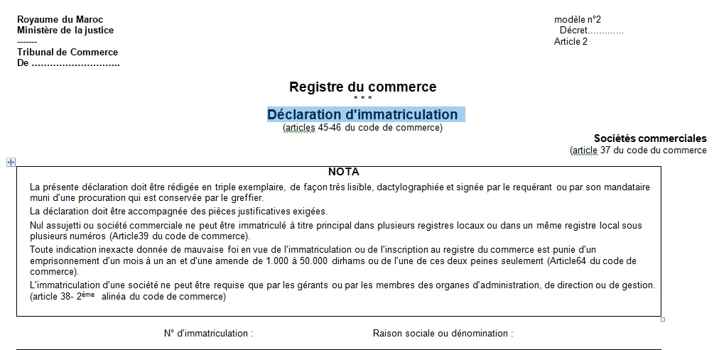 Les mod les de registre de commerce 1 2 3 4 4 1 - Immatriculation chambre de commerce ...