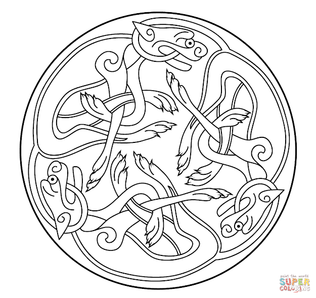 Celtic Ornament Design From Book Of Kells Coloring Page  Supercoloring