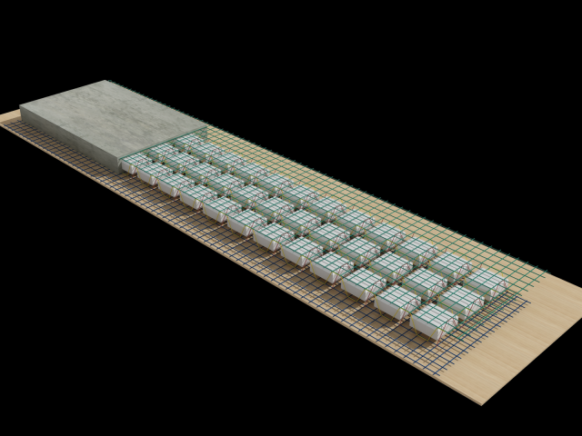 Mô hình 3D: Coffa xốp trong tạo rỗng + Cốt thép 3D = Panel 3D