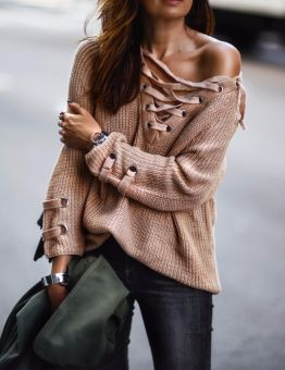 Women's Long Lace Up Knitted Sweater