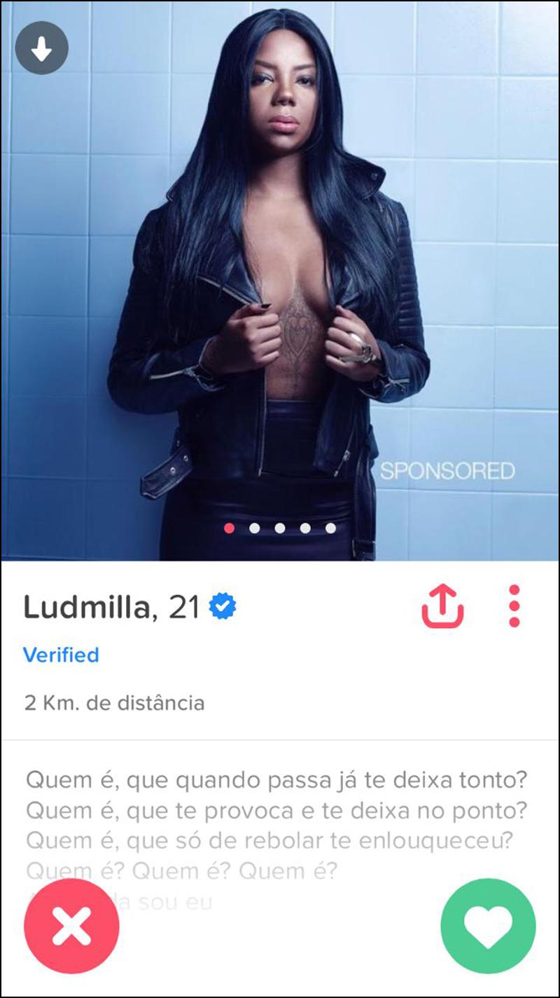 Ludmilla está no Tinder