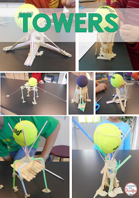 STEM Challenge: Can you build a tower using ALL of the materials? Here's the trick to this one: It has to hold a tennis ball aloft!