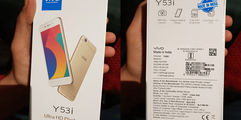 Vivo Y53i with the same Y53 specs announced