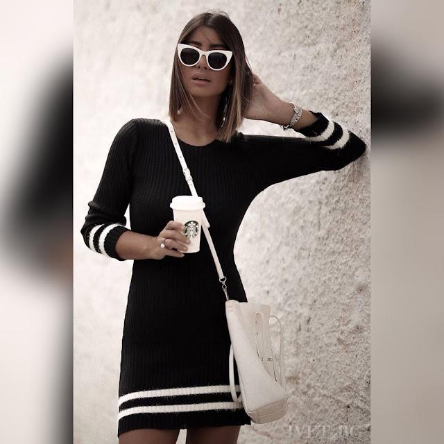 Μακρυμάνικο μεσάτο μαύρο με άσπρο φόρεμα CHANTAL