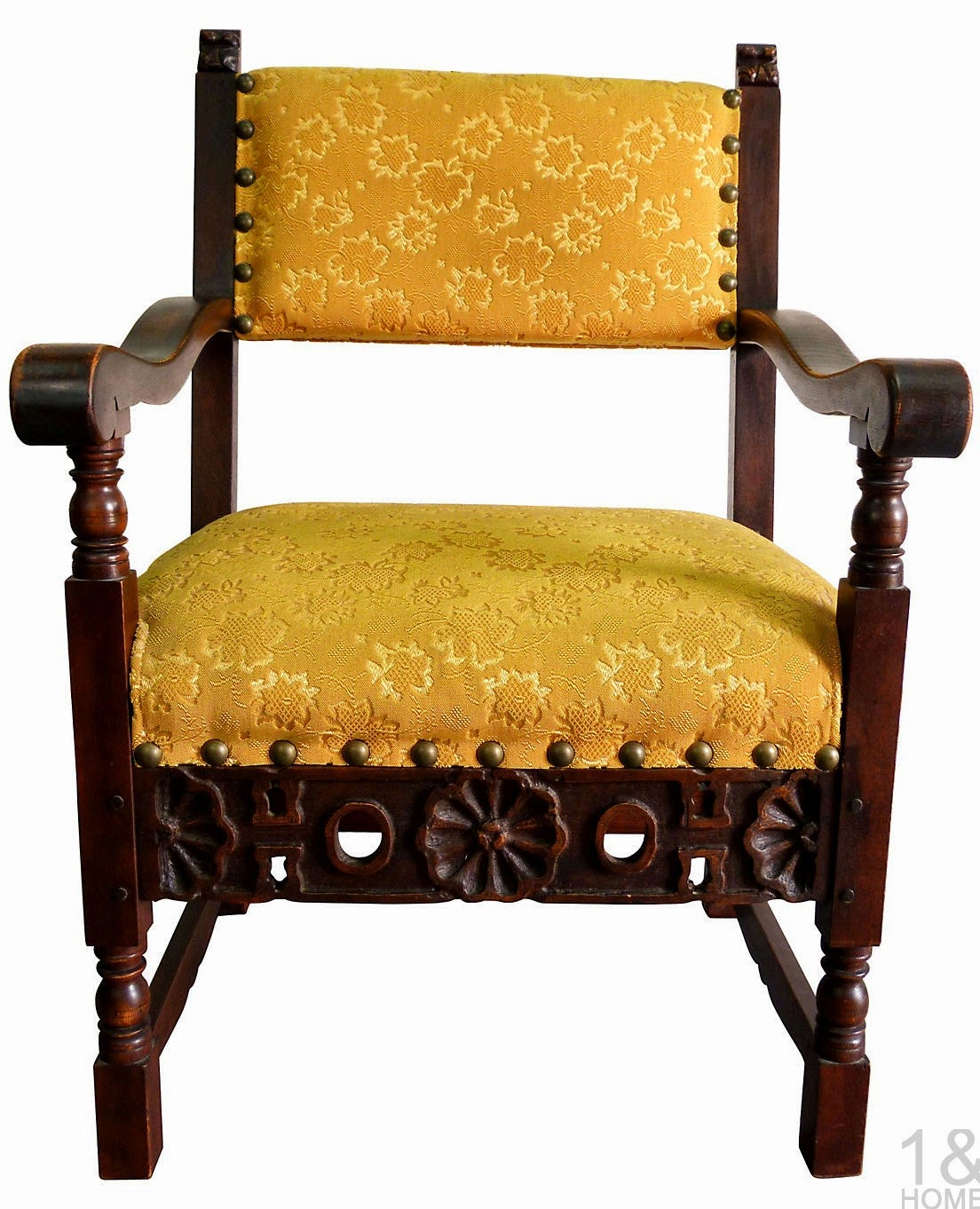 carved Spanish revival armchair