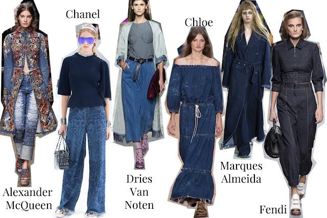 S/S 16, Trends, Designers, Alexander McQueen, Chanel, Chloe, Dries Van Noten, Marques Almeida, Fendi, Denim