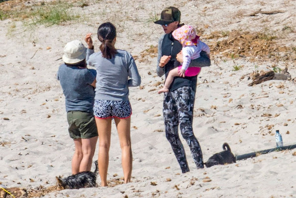 Princess Charlene  Princess Gabriella and Crown Prince Jacques in Corsica beach