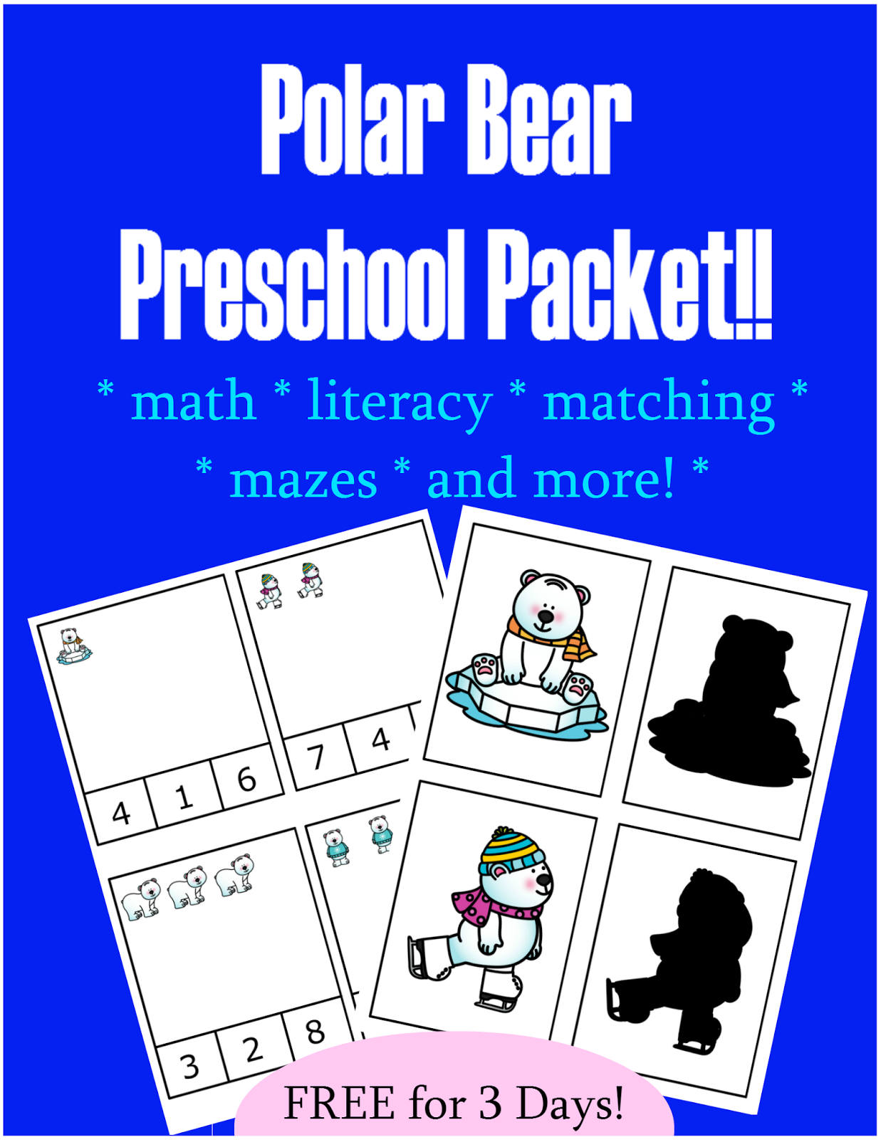 Polar Bear Preschool Packet Free For 3 Days Only