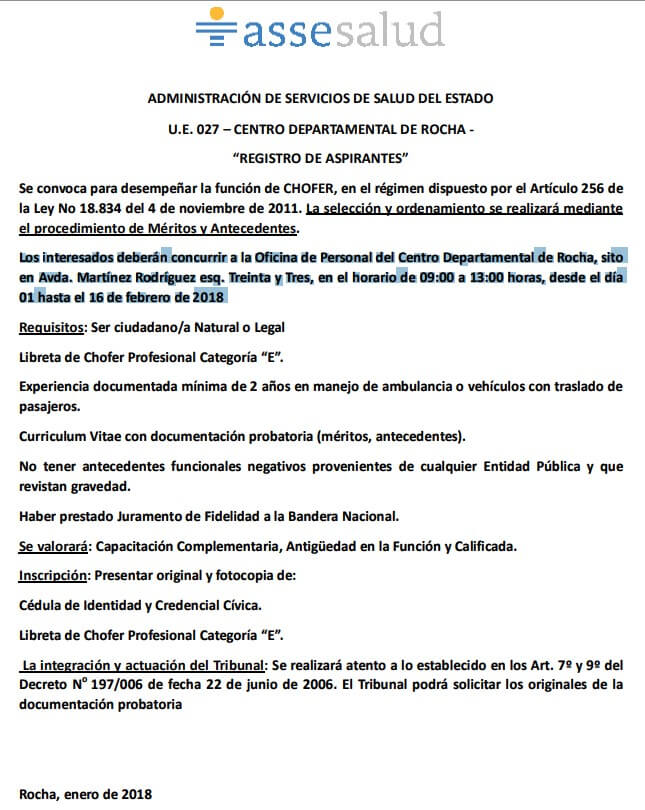 Llamado Asse Rocha Chofer Profesional Categoria E Febrero 2018