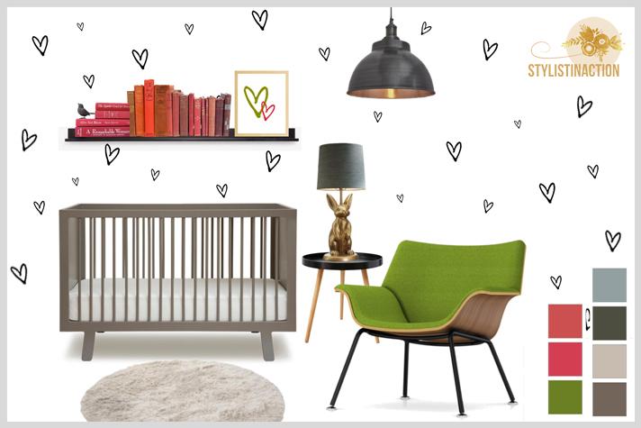 Ideas para cuartos de bebes no tradicionales. Contratono verde rojo para elementos que se pueden sacar o cambiar si resulta cansador o segun las distinas etapas del bebe