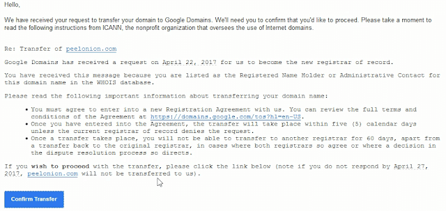 google domains transfer confirmation email