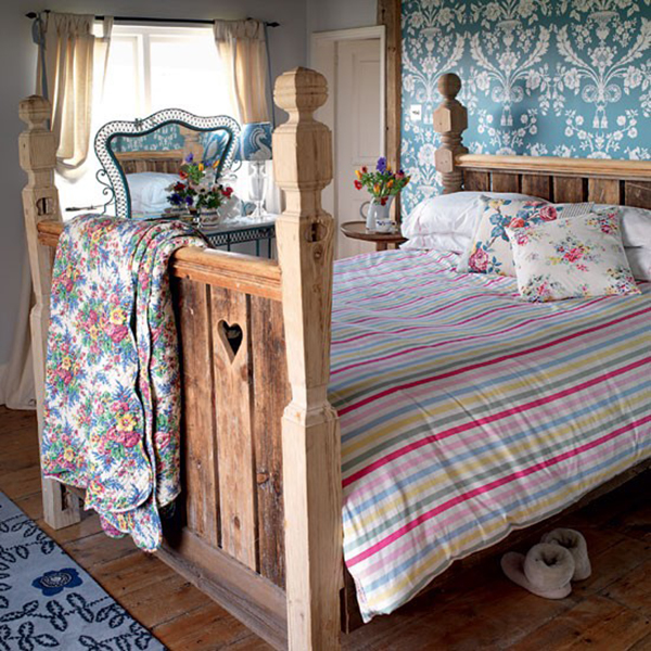 Cath Kidston and Vintage Florals in a Rustic Country Cottage Bedroom