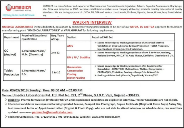 Umedica Laboratories - Walk-In Interviews for QC - Tablet Production on 3rd Mar' 2019