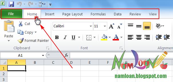 Click đúp vào thẻ tab bất kỳ để ẩn hoặc hiện thanh Ribbon trong Excel