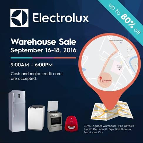 Electrolux Warehouse Sale from September 16-18, 2016