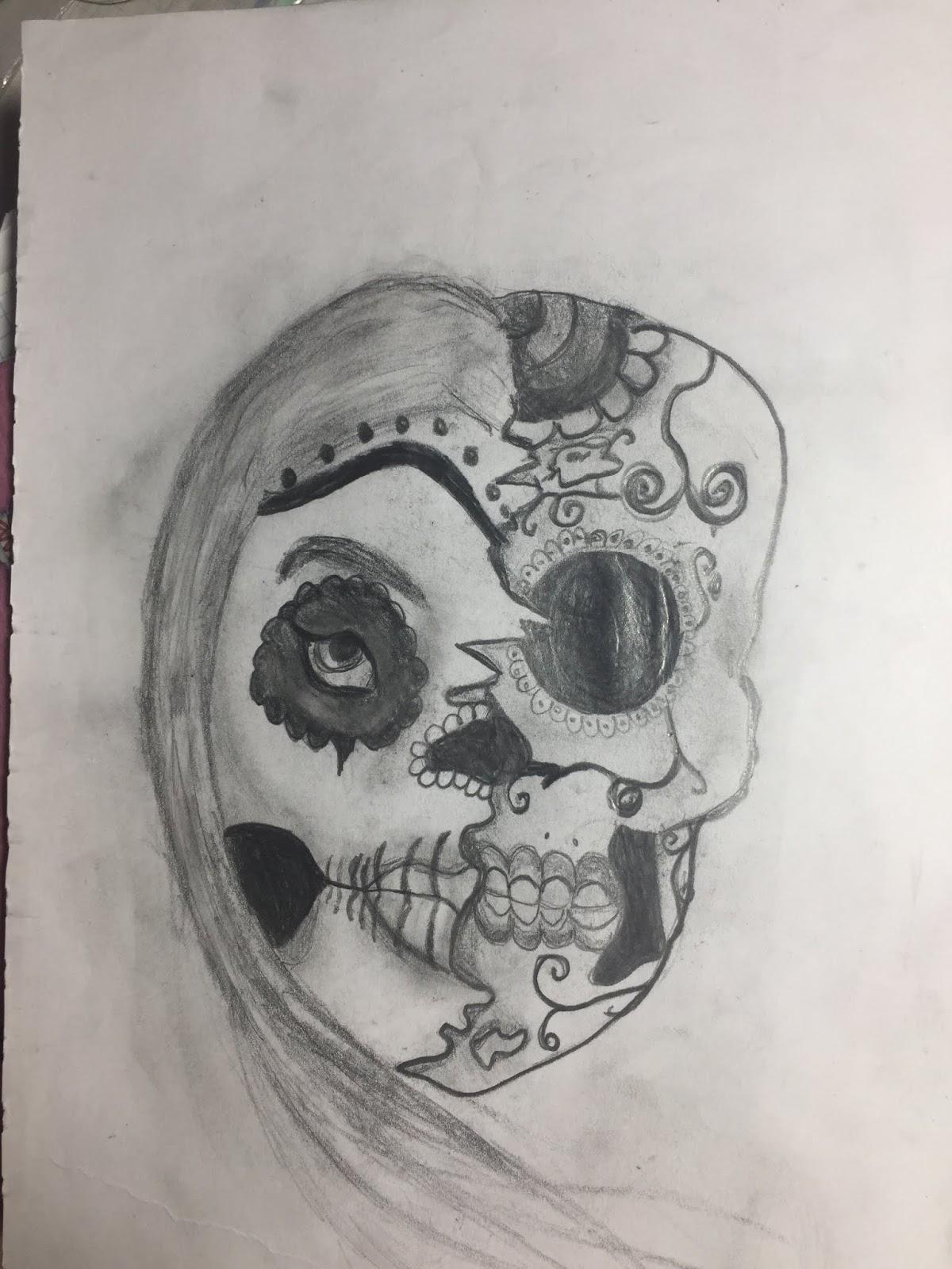 Mujer Mitad Calavera Mexicana Mi Pequeño Gran Cuaderno De Dibujos
