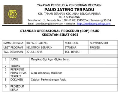 Contoh SOP PAUD Kegiatan Sikat Gigi Anak Kurikulum 2013 Terbaru